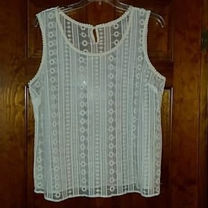 ADIVA sleeveless lace top sz 2